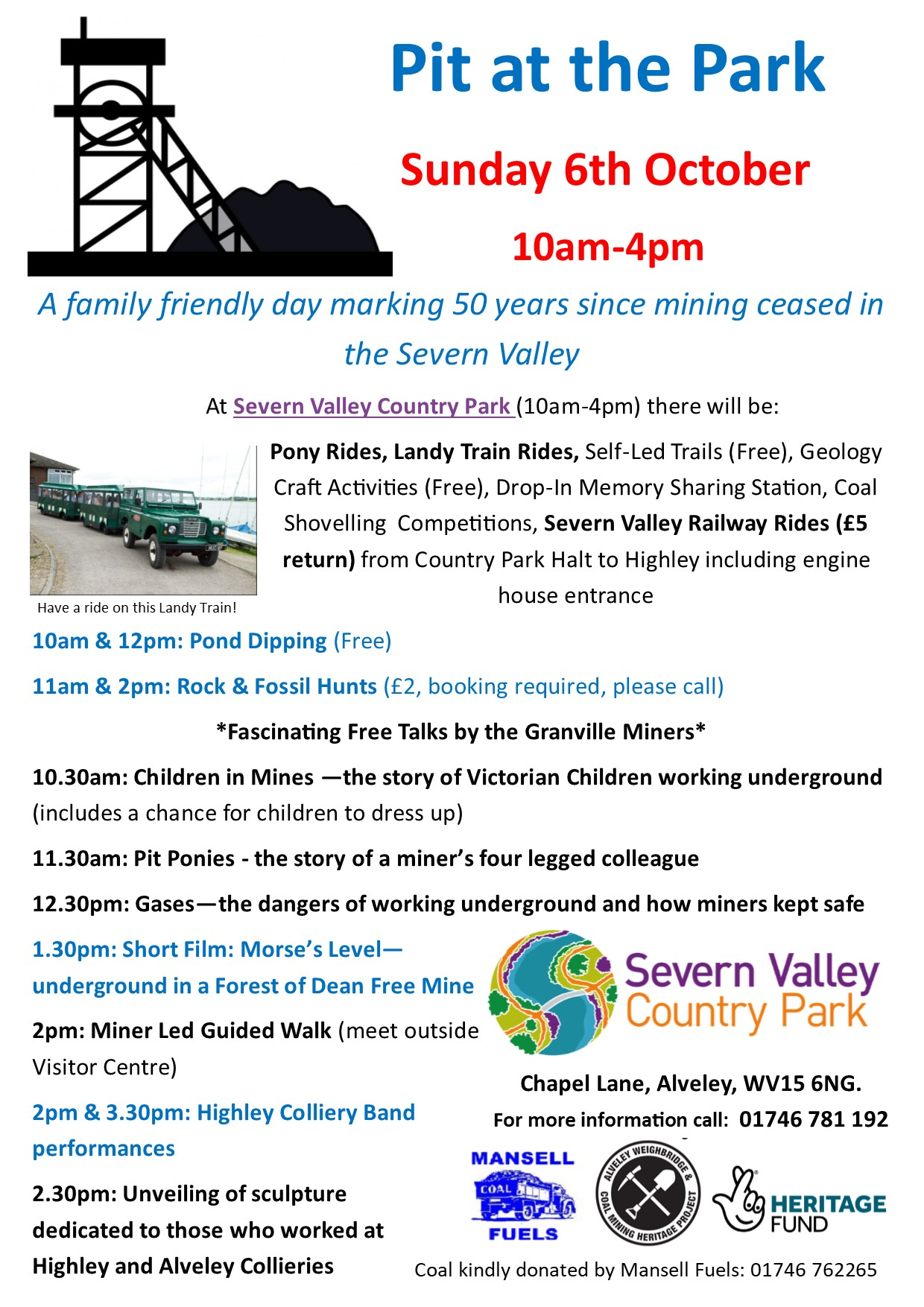 Pit in the Park poster - Alveley Mine closure 50th anniversary